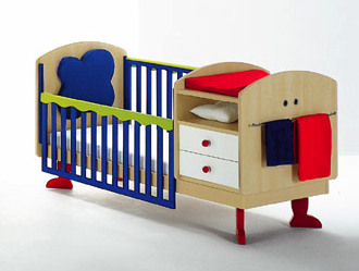 colorful child's bed, with storage