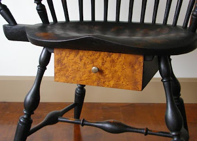 writing arm chair, detail of drawer under the seat