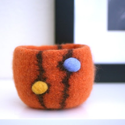 orange felted bowl