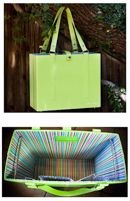 green file tote, two views