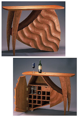 custom wine cabinet, wood