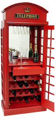 British telephone booth (or box) wine cabinet, red