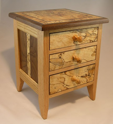 jewelry box, multiple woods, 3 drawers