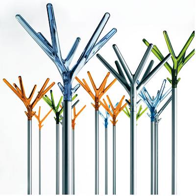 coat stands, many colors