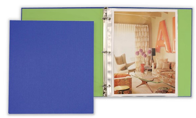 fabric 3-ring binder, blue with green interior