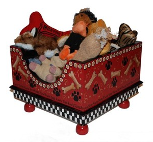 flamboyant hand painted pet toy box