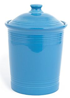 blue ceramic compost crock