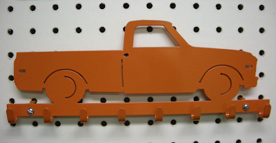 key rack, metal, orange, truck shape