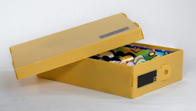 yellow under-the-bed storage box, plastic