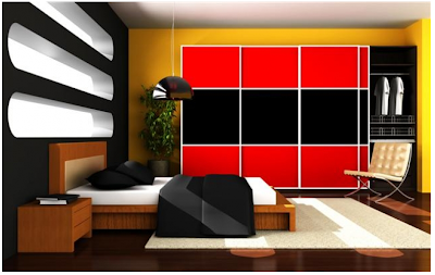 red and black sliding wardrobe doors