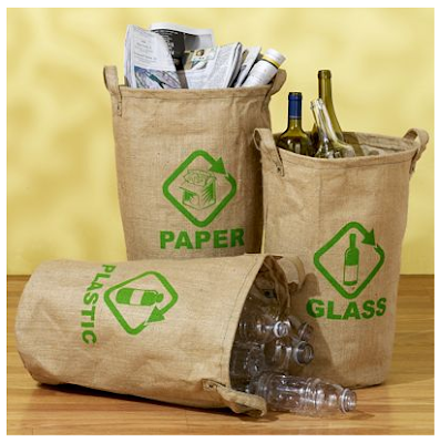 jute recycling bags for paper, plastic, glass