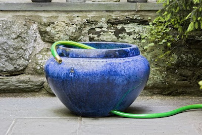 ceramic hose pot, blue