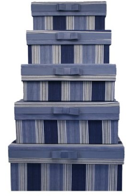 stack of fabric covered boxes