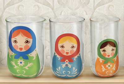 glasses with Russian nesting dolls