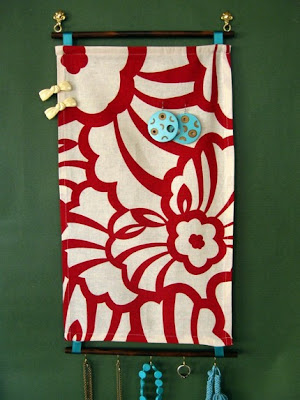 earring and jewelry organizer, fabric wall hanging