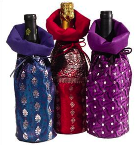 wine bags made from saris