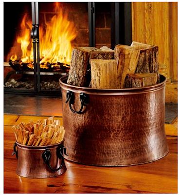 copper firewood buckets