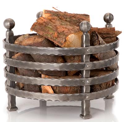 wrought iron firewood log basket