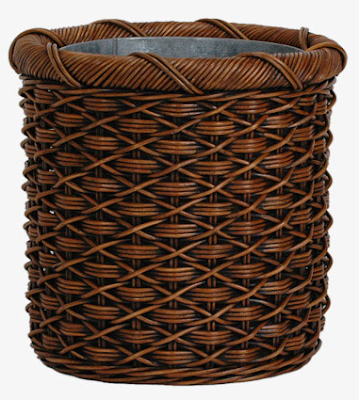 rattan / wicker waste basket with metal liner