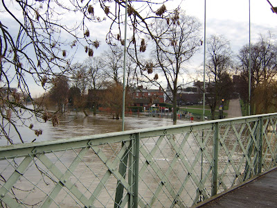 photograph of high river water in shrewsbury