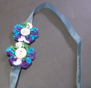 image of double flower headband crochet flowers buttons