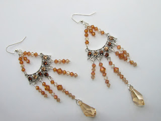 image caramel chandelier crystal earrings swarovski topaz