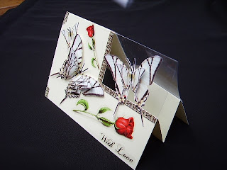 image beautiful butterflies card roses