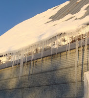 Icicles on barn roof