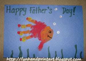 Hand and footprint art for father s day lesson plans for Father s day fishing card