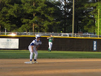 Cecily Parrott on second after doubling off the wall in the 2nd