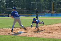 Colin Perry dives back to first