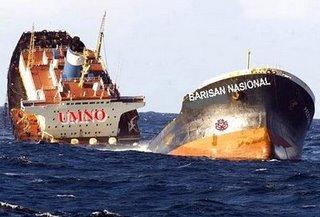 Image result for Foto kapal karam umno