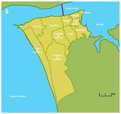 mapa do concelho de almada ESCOLA BÁSICA 2/3 DA TRAFARIA   TURMA 8º 1ª: Área de Projecto  mapa do concelho de almada