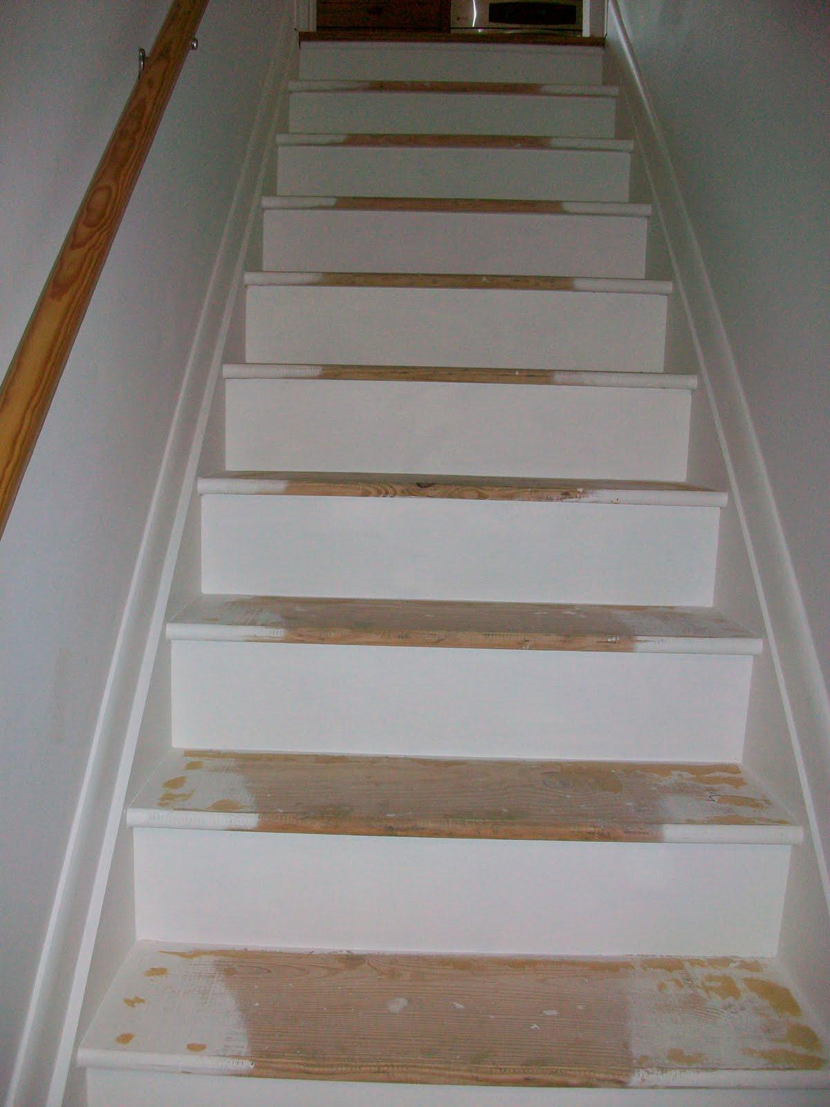Lighting Basement Washroom Stairs: Pine Tree Home: Painted Stairs- One