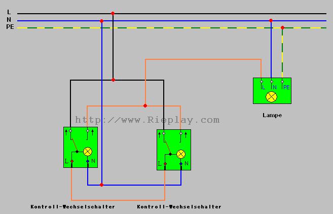elektrotechnik von a z die kontroll wechselschaltung. Black Bedroom Furniture Sets. Home Design Ideas