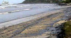 Chapapote en la playa del Chinarral a las 14:horas del Martes 30 de enero de 2007