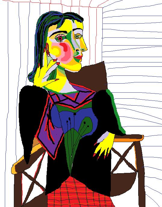 Ms Paint Masterpieces Portrait Of Dora Maar By Pablo Picasso 1937
