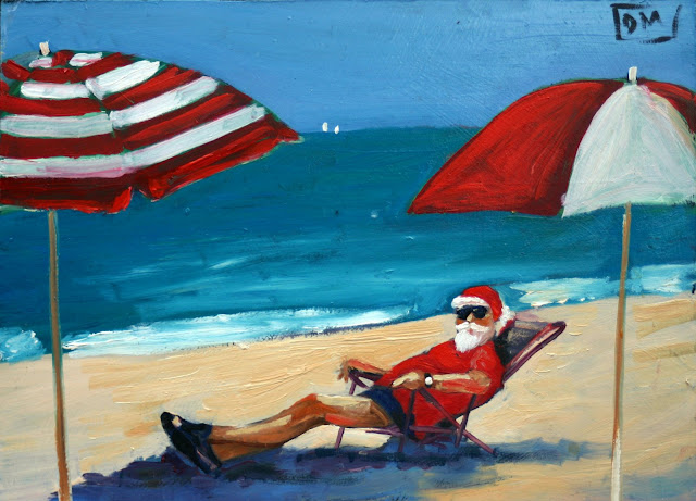 santa at the beach, beach umbrellas, blue, red and white umbrellas, debbie miller