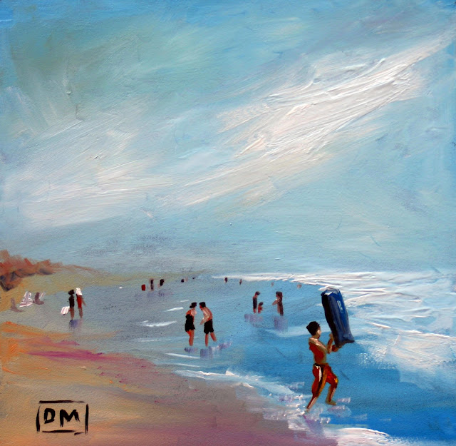 In the surf, beach painting, debbiemillerpainting.blogspot.com
