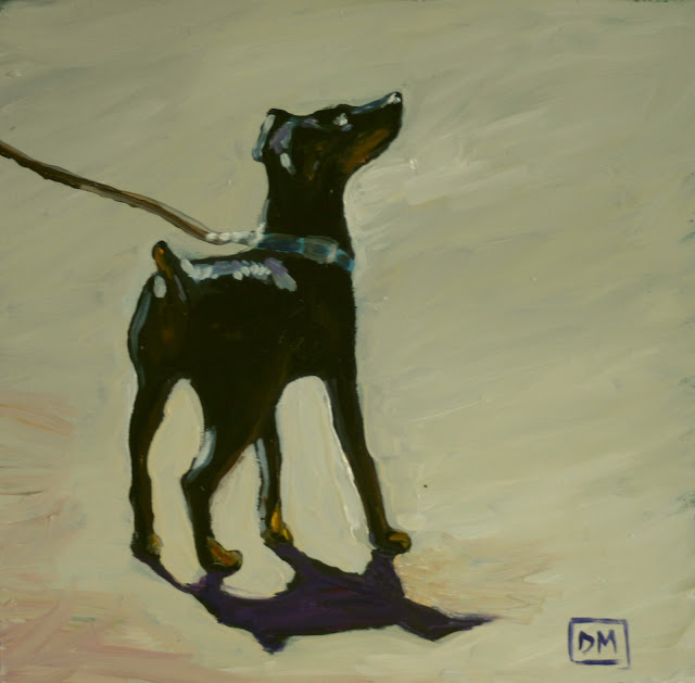 painting of a manchester terrier, dog painting
