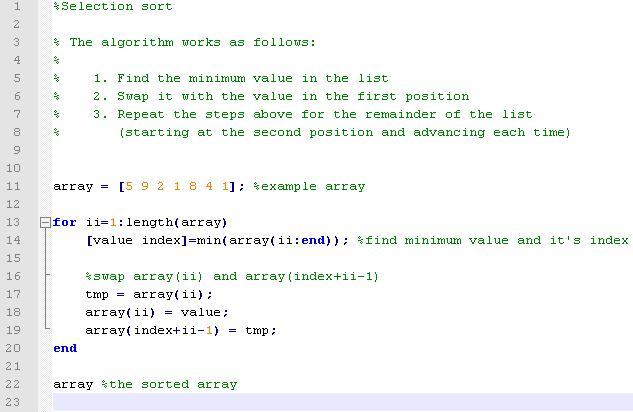 Berbagi Ilmu: Selection Sort With Matlab