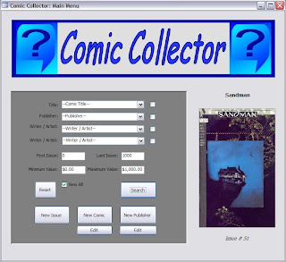 Comic Collector main menu