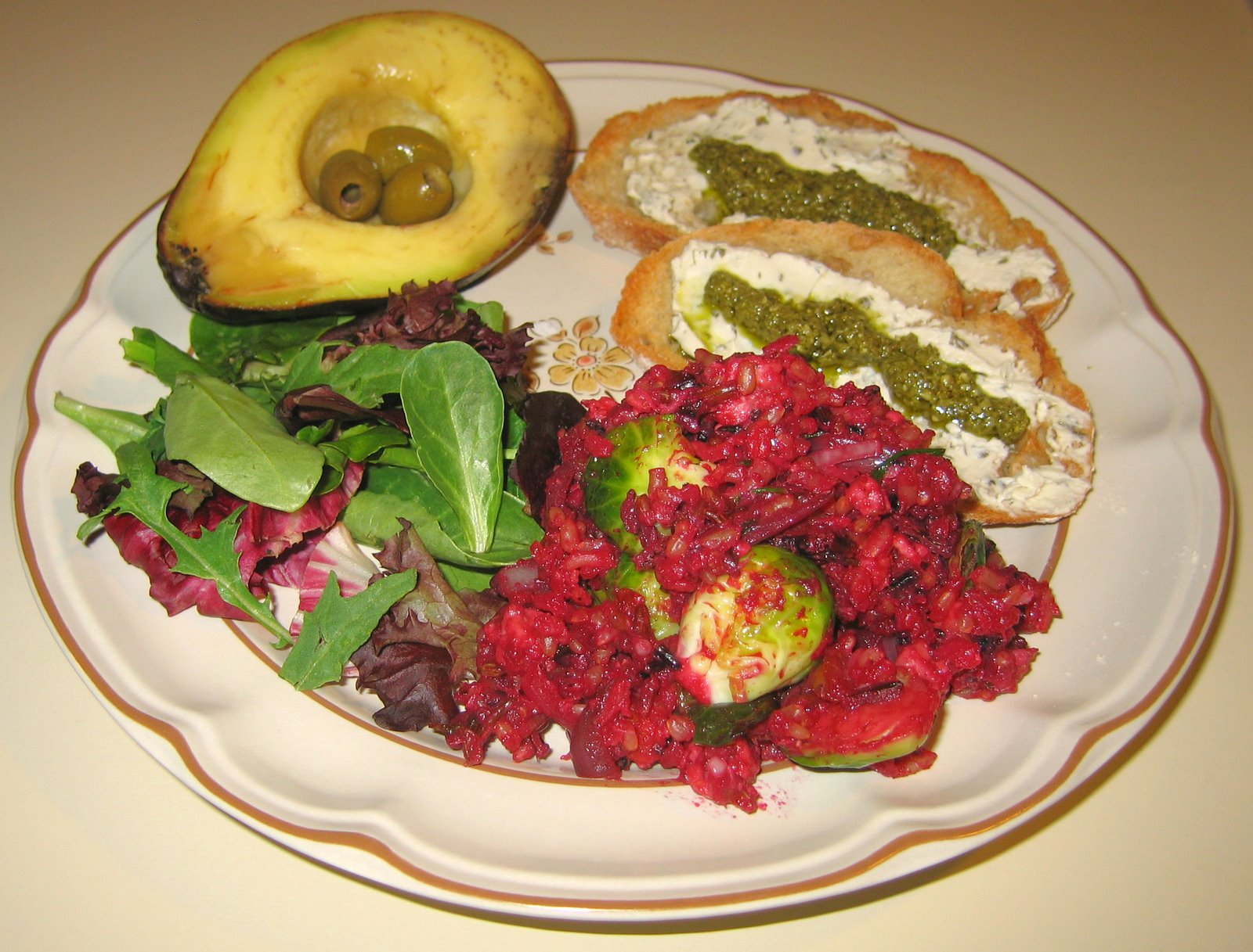 [20070827+Mixed+Rices+w+Beet+Juice+&+Brussels+Sprouts,+Vegan+]