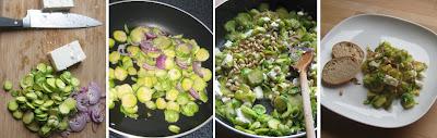 Zubereitung Gebratener Rosenkohl mit roter Zwiebel und Feta