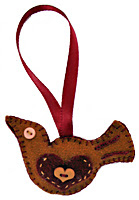 Holiday Felt Bird Ornament