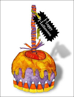 Candy Corn Candy Apple Halloween Greeting Card