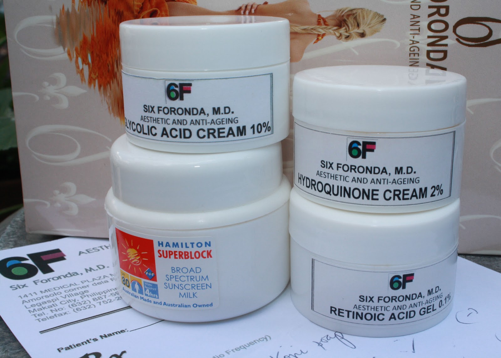 Cheaper Obagi: Doc Six Foronda's glycolic acid cream 10%, Hydroquinone  cream 2%, Retinoic acid 0.1% (forgot to take a pic of the glowing solution;  ...