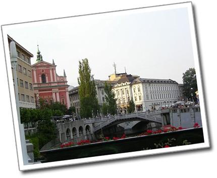 Tromostovje and Prešeren Square, Ljubljana, Slovenia