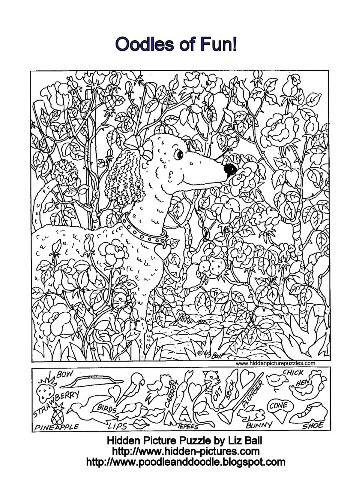 Hidden Picture Puzzle on Color By Number Puppy Worksheet