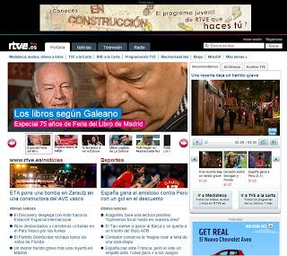 Aspecto de la nueva web de RTVE